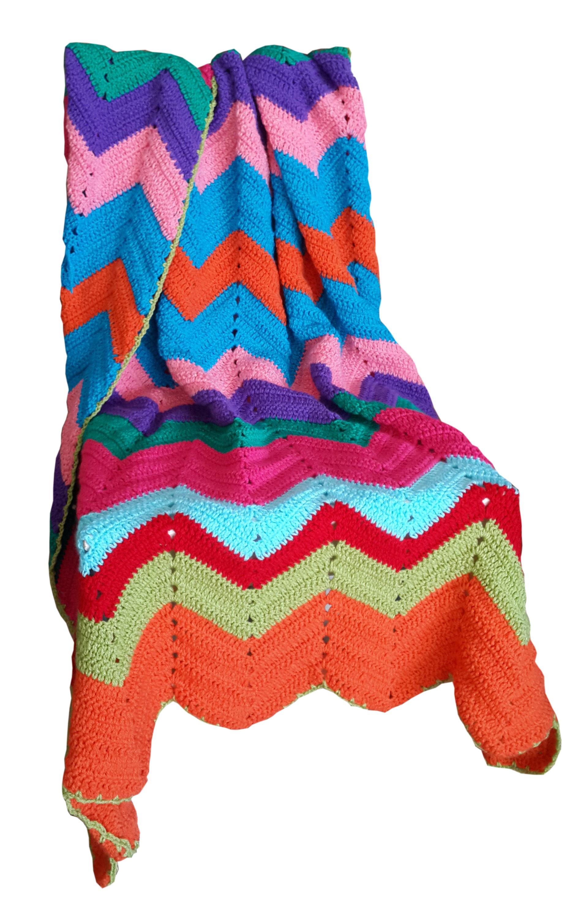 Vintage Look Zig Zag Crochet Blanket In Rainbow 115155cm Moo Chick