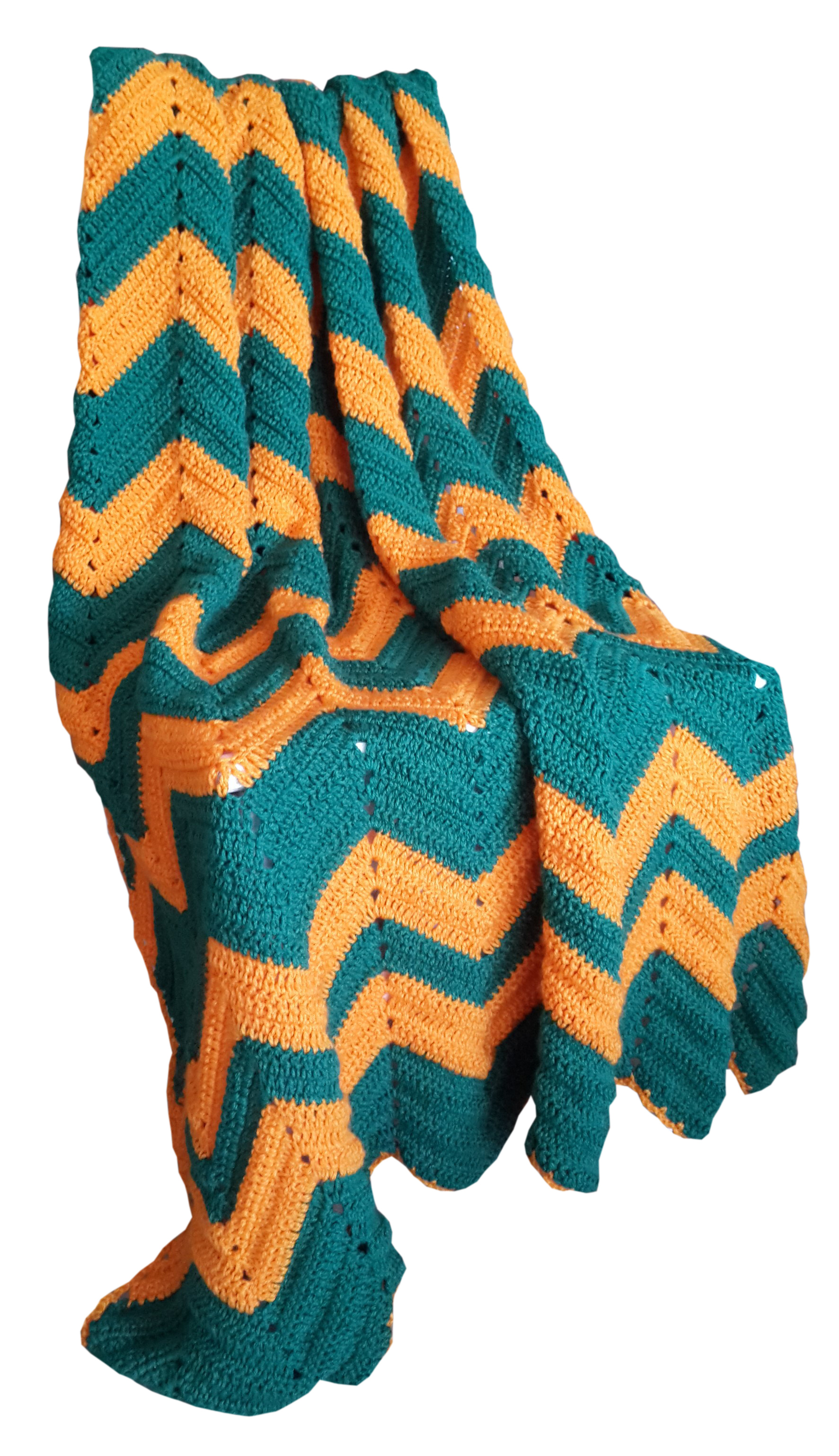 Vintage Look Zig Zag Crochet Blanket In South African Green And Gold