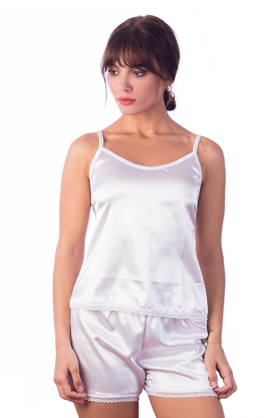 Pijama dama , Satin alb