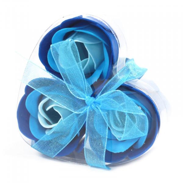 -100% 3x Flori de săpun albastru - cutie în formă de inimă