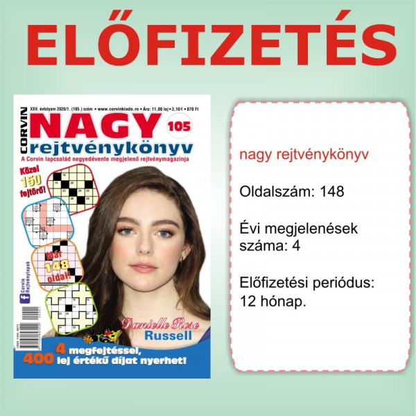 Előfizetés - Nagy rejtvénykönyv - 12 hónap - Romániába