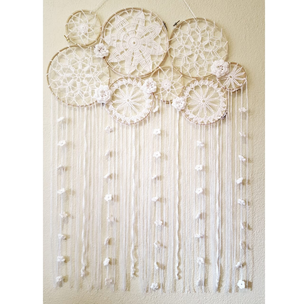 Crochet Dream Catcher With Flowers And Tassels Moo Chick