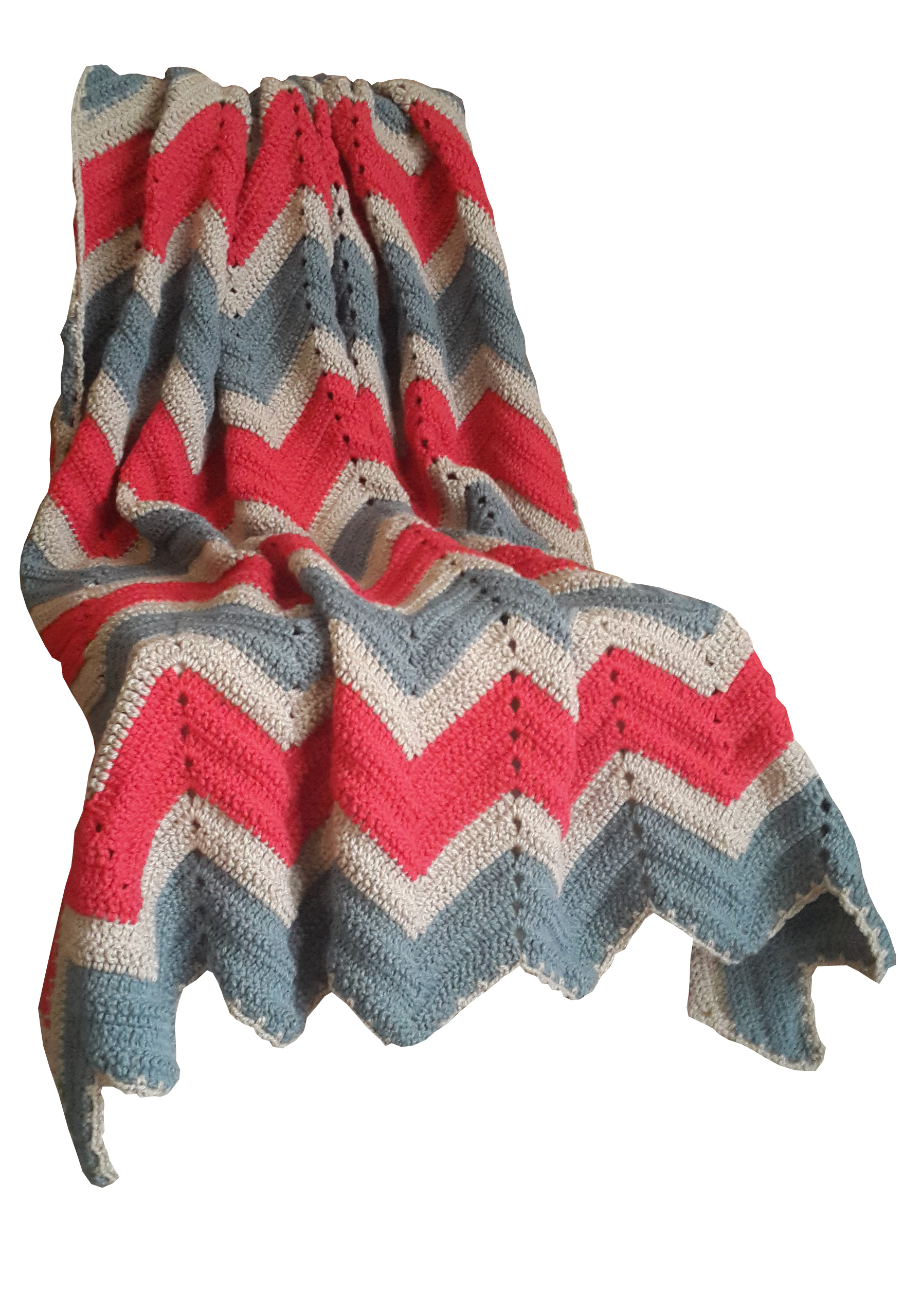 Vintage Look Zig Zag Crochet Blanket In Fog Slate Grey Hibiscus