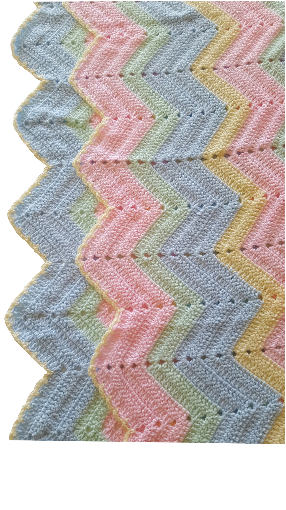 Vintage Look Zig Zag Crochet Blanket Pastels Pink Blue Yellow And
